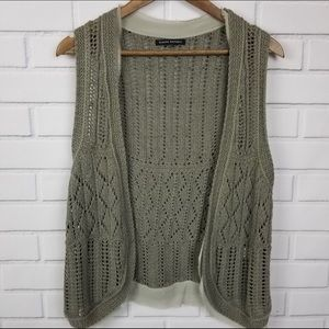 Banana Republic Olive Knit Crochet Open Vest Mediu